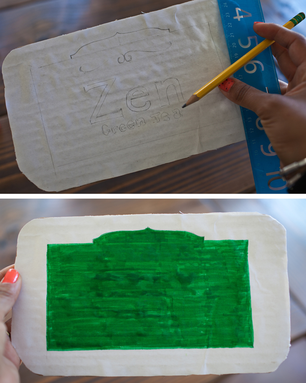 You can create your own tea bag label but I chose to use one of my favorites, Starbucks Zen Green Tea! I used an image from Google to copy the label. When tracing in pencil be sure to draw dark enough to see through your color. After you are done with your sketch, take your green marker and fill in the middle.