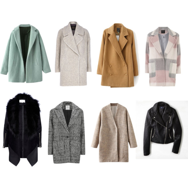 1. Green coat found  here .  2. Oatmeal colored coat found  here .  3. Camel colored coat found  here .  4. Pink check coat found  here .  5. Black coat with faux fur collar is no longer available :(  6. Plaid hounds tooth coat found  here .  7. V-neck beige coat found  here .  8. Vegan leather coat found  here .