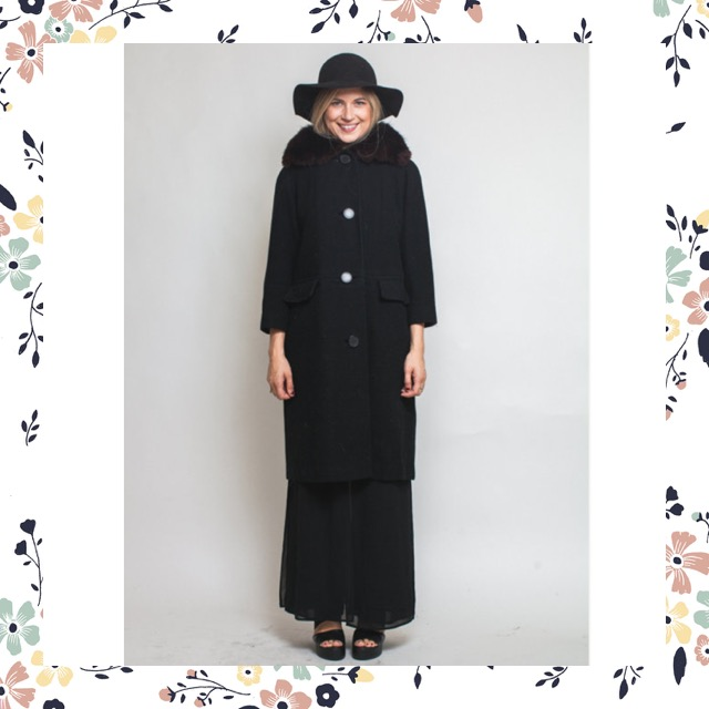 How beautiful is this amazing, simple, and chic black coat? It even has a fur collar. Find it here.
