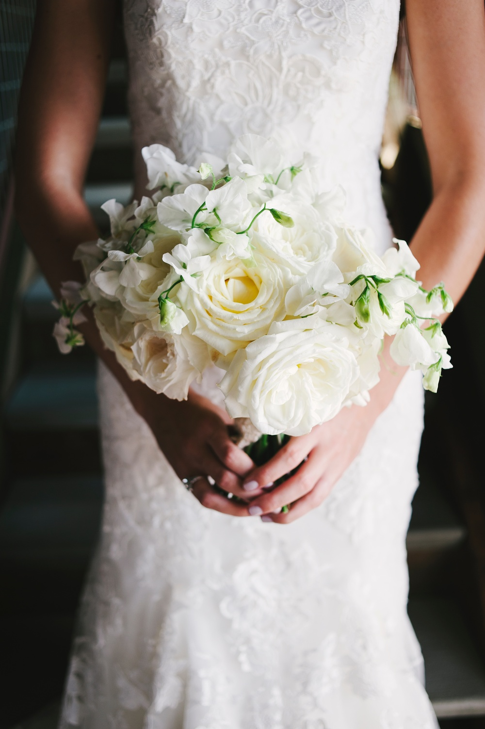 White bridal bouquet sweet peas roses - Olsen Mansion - Studio 3 floral design