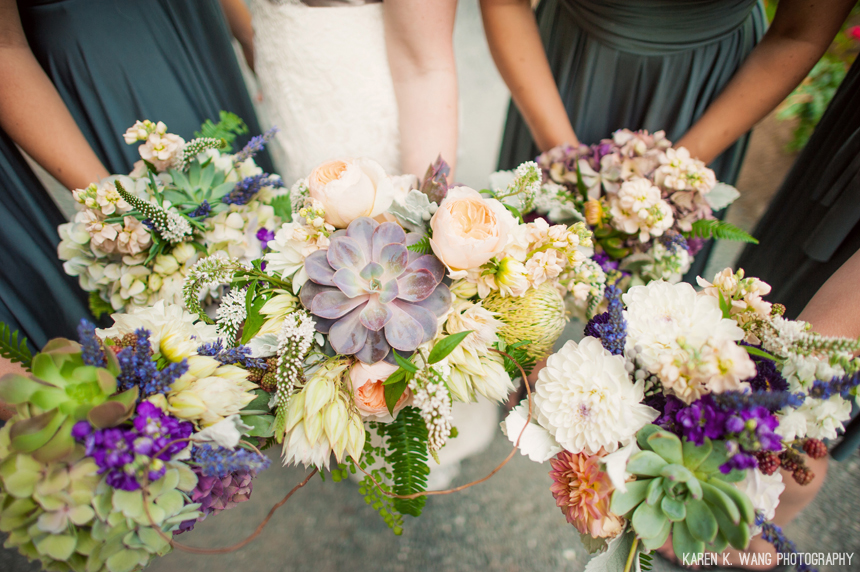 studio 3 floral design succulent bouquet seattle wedding bridal party flowers
