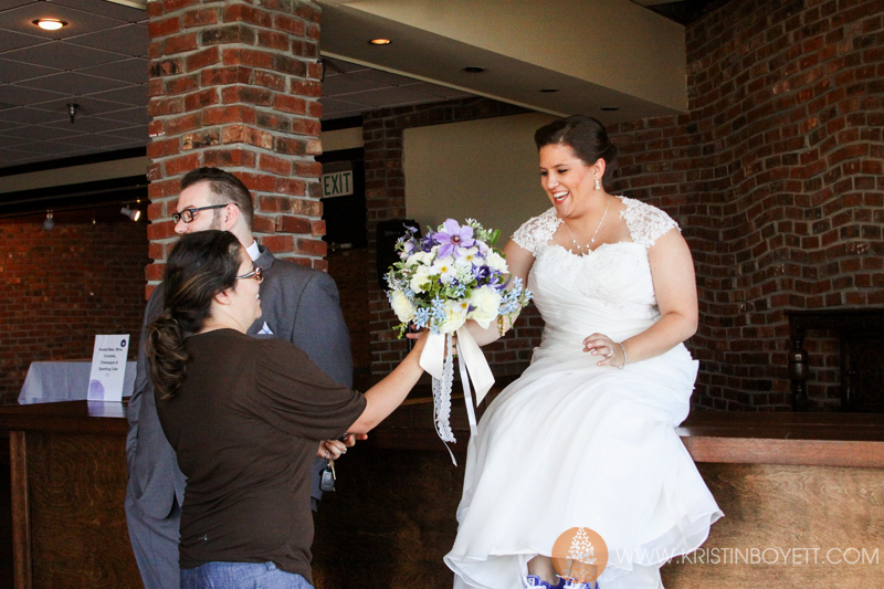 This is my favorite part of the wedding day. Handing off the bridal bouquet to the beautiful bride. This face is my standard of success!