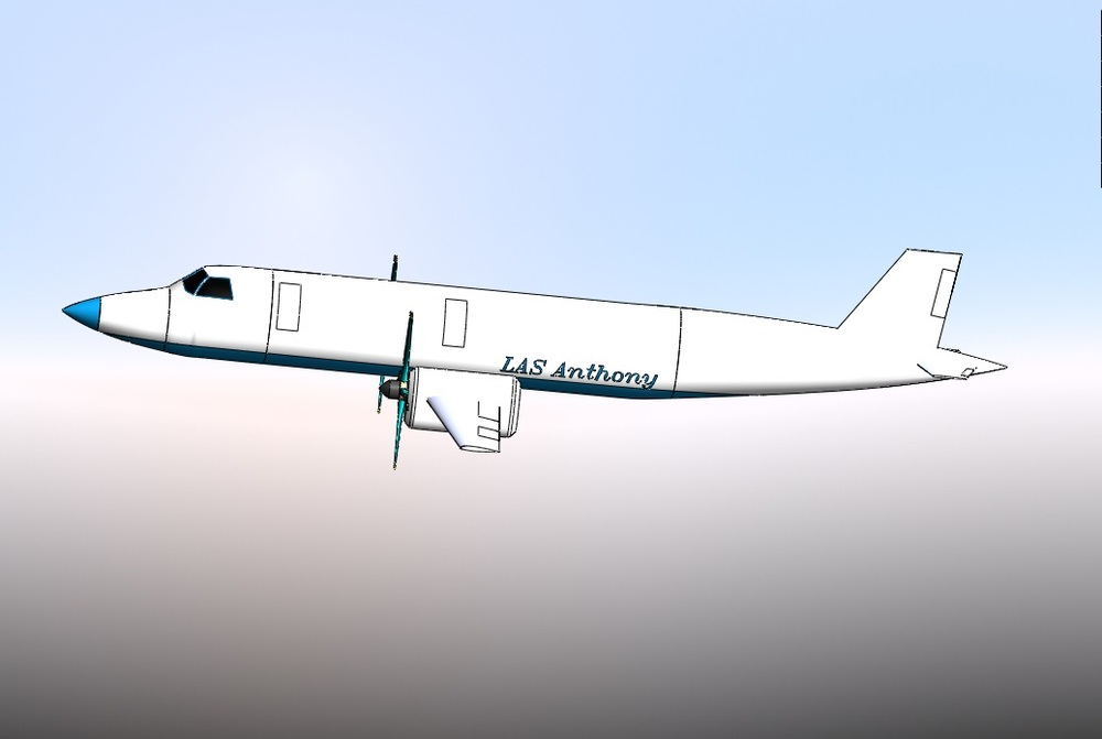 This is the first 3-D model of the earlier turboprop concept of the LAS Anthony.