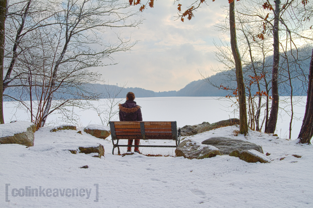 Lauren enjoys some wintery solitude as the snow storm clears.