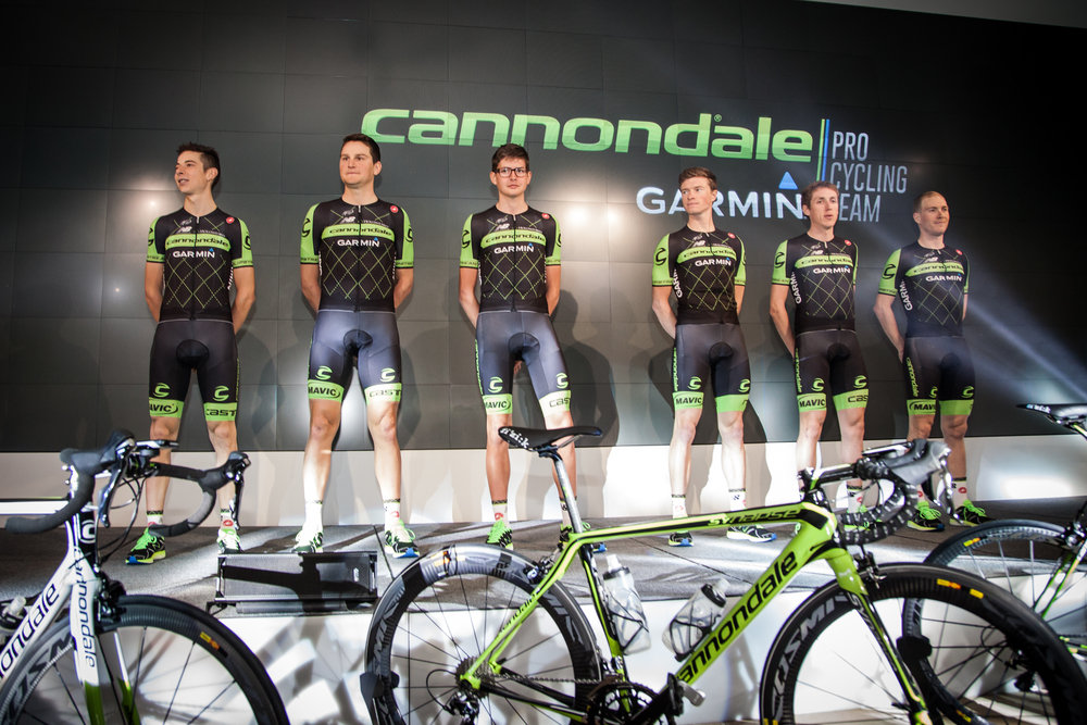The new Cannondale-Garmin Pro Cycling kit for 2015, as expected with plenty of green.