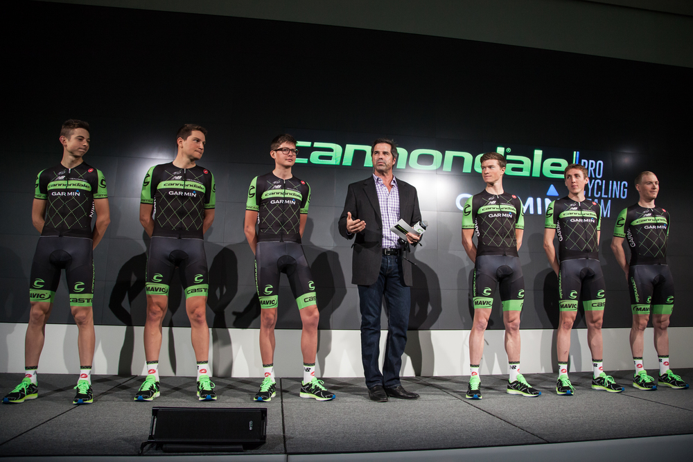 Don Wildman presented the 2015 Cannondale-Garmin Pro Cycling launch in New York City.