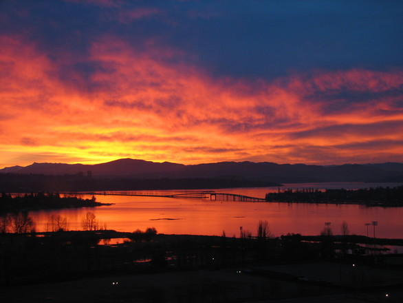 Sun Rise Over 520 Bridge