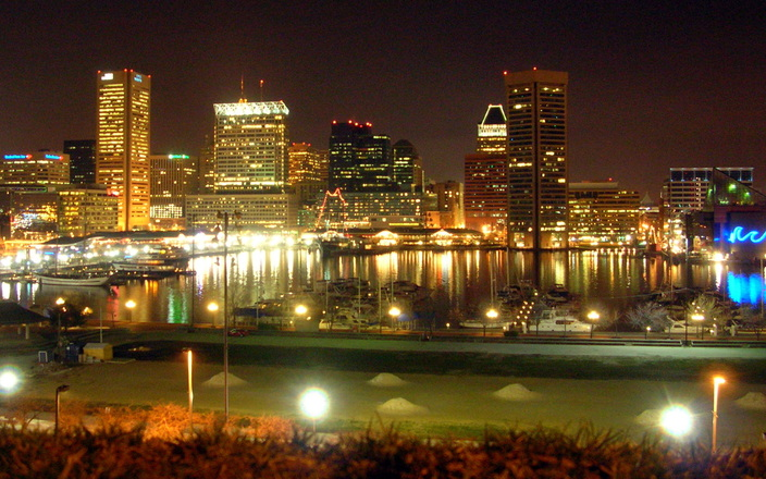 Baltimore Harbor at Night