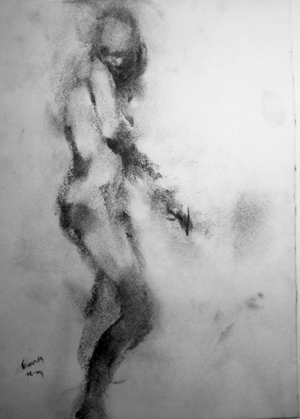 Emma Study I 2009 charcoal on paper
