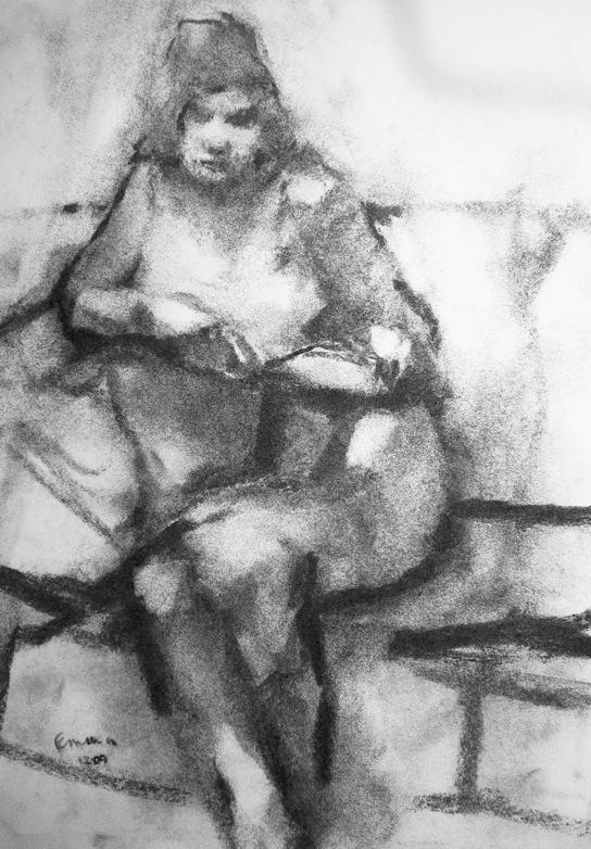 E.K. Study II 2009 charcoal on paper