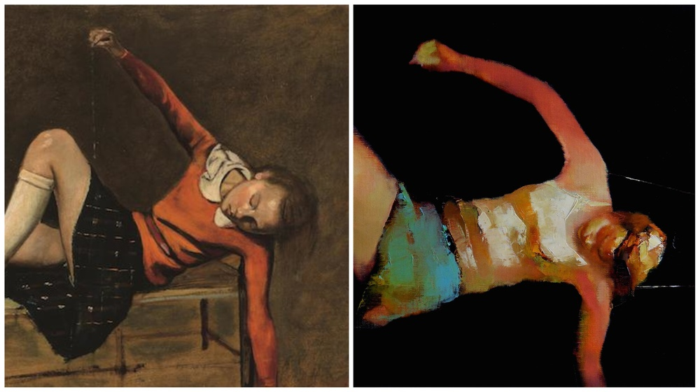 Left: Balthus' Therese on a Bench, 1939 (cropped) Right: Recasting Thérese 2014