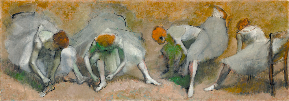 Danseuses attachant leurs sandales, oil on canvas, circa 1895