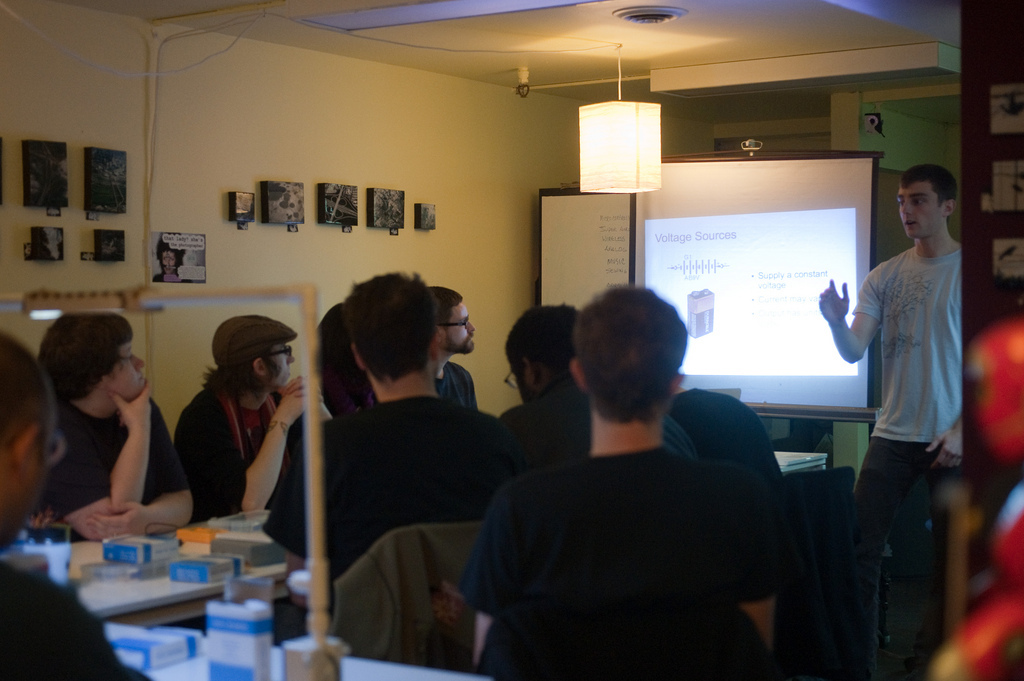 Metrix Create:Space is about building, learning and discovery.   What have we discovered? People love Workshops. The Introduction to Electronics workshop this Sunday filled up last week, and even before we finished writing this blog post, we got a signup for January. We know you have a thirst for knowledge, and flashing LEDs are just the beginning, so we've added Using Transistors to our lineup. A quick google search shows that an Intel Pentium D has 230 million transistors, but do you even know what that means?  Come to Using Transistors and find out just what all the fuss is about.   We wont come close to building a CPU, but we'll show you how to build switches, logic gates, and even a simple amplifier circuit. For those of you that want something a bit more permanent than breadboard buildouts, we've got soldering and advanced soldering in the pipeline, but are still scheduling times.   Watch the blog and twitter for updates. Using Transistors Sunday, January 10 2010 2-4:30 Cost: $40 We'll explore transistors, what they're used for, and how to use them. After an overview of the function of transistors, we'll spend the class making some simple switches, logic gates, and an amplifier. Required Equipment: Everything we gave you in the Intro to Electronics class. (You can buy this stuff here if you don't have it already). Breadboard Multimeter LEDs and resistors 9 V battery and connector Introduction to Electronics Thursday, January 14 2010 6:30 - 9 Cost: $40 This workshop covers everything you need to know to get started in electronics. We'll start from the basics of electricity and work our way up to using integrated circuits. You'll leave the class with some simple components and the knowledge to use them.