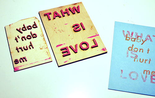 I forgot to flip the text the first time I made these plates. So much for my fancy printmaking education!