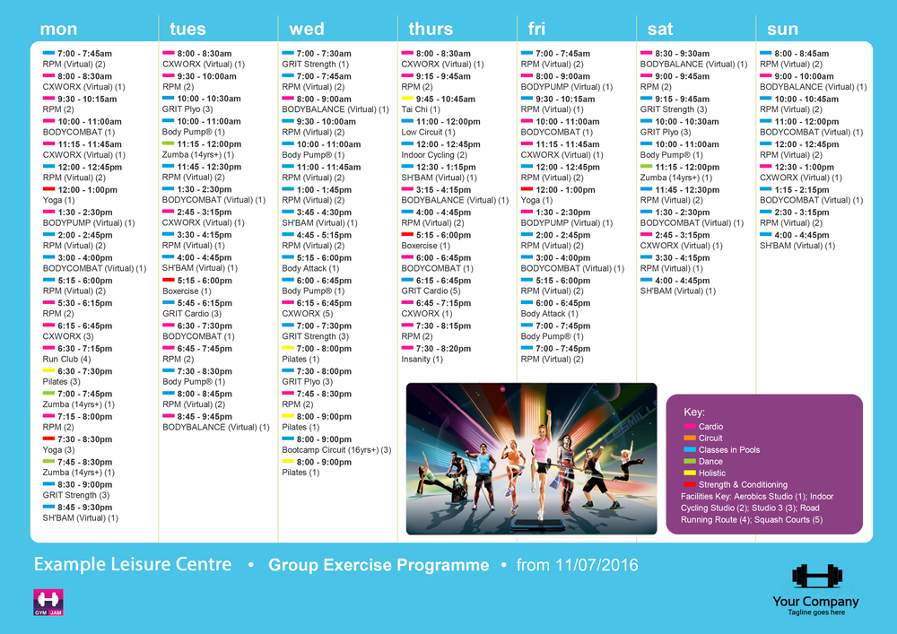 Group Exercise Print Timetable