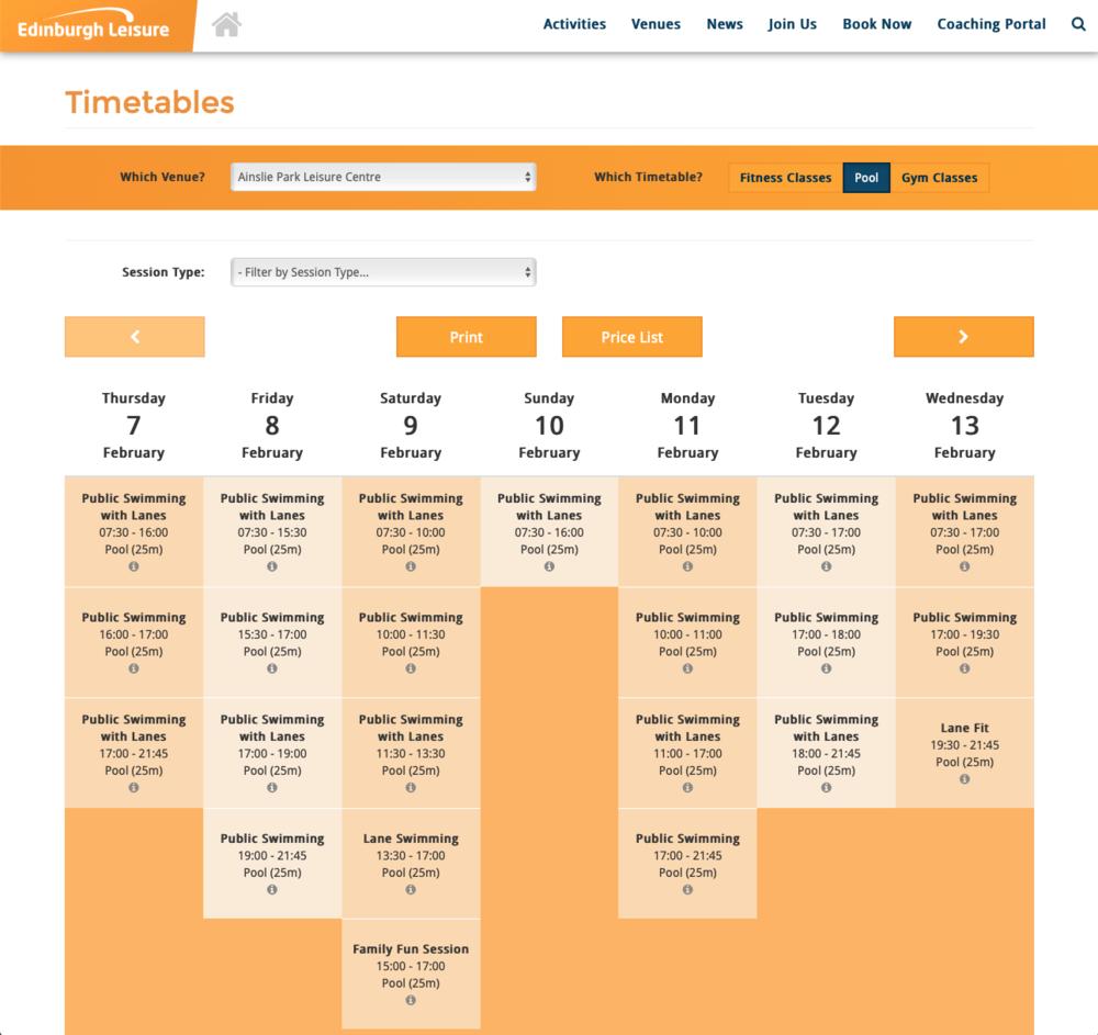 Swim Timetables