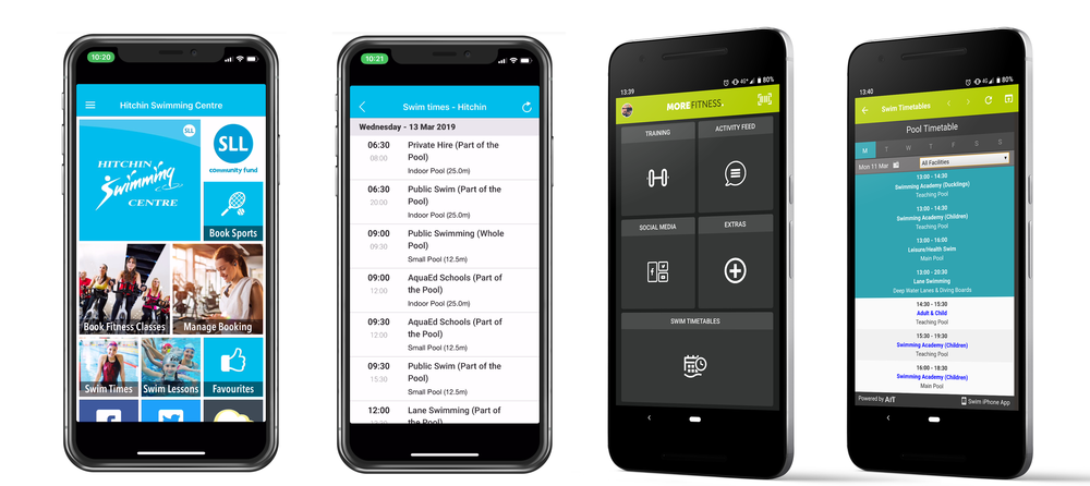 Examples of AiT timetable tiles in Innovatise (Stevenage Leisure) and Netpulse (Serco Leisure) powered mobile apps