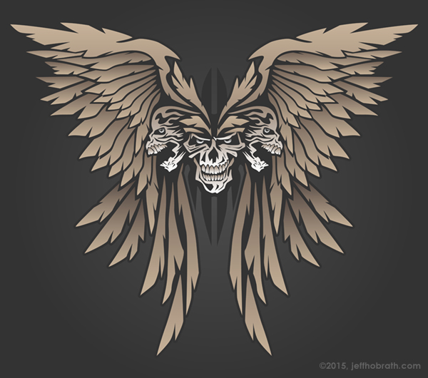 Three Skulls with Wings