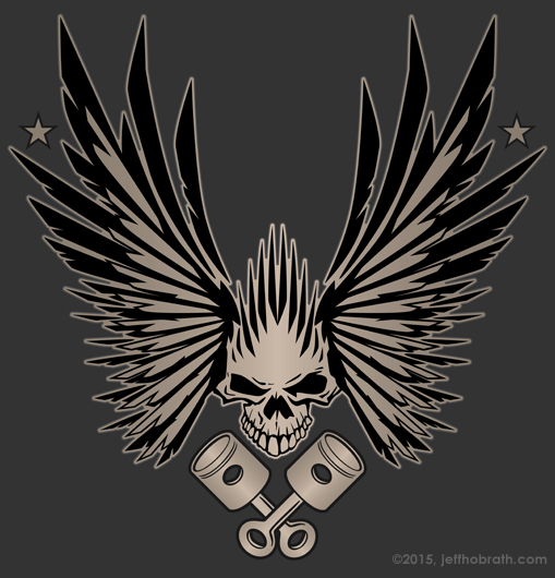Skull Wings and Crossed Pistons