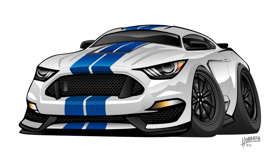 Modern American Muscle Car Cartoon Mustang Cobra GT350