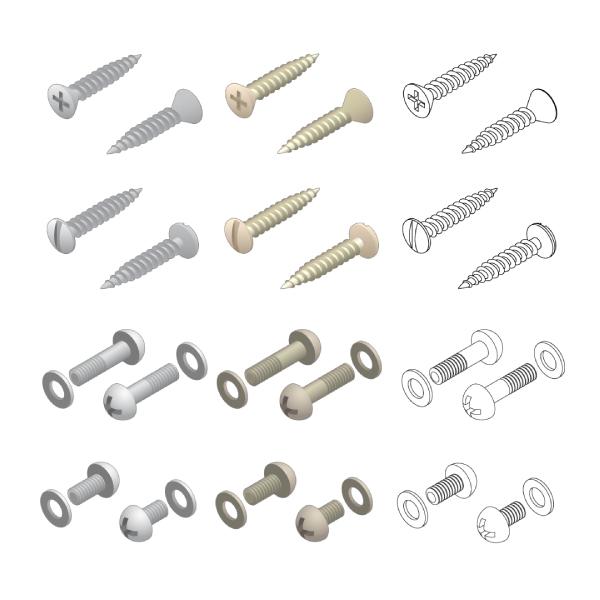 Screws Washers Hardware Isometric Set