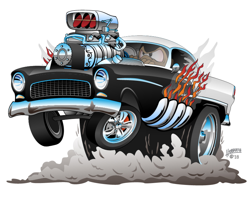 Classic American Fifties Style Hot Rod Funny Car Cartoon with Big Engine, Flames, Smoking Tires, Popping a Wheelie, Vector Illustration
