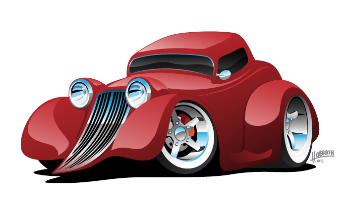 Red Hot Rod Restomod Coupe Cartoon Car Vector Illustration