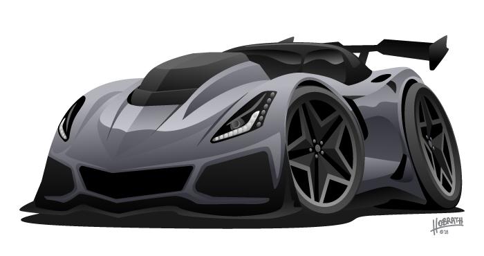 Modern American Sports Car Vector Illustration