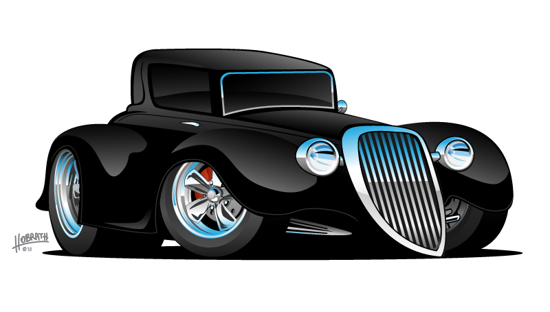 Black Hot Rod Classic Coupe Custom Car Cartoon Vector Illustration