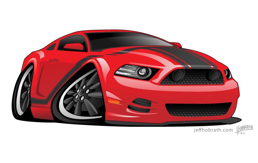 Red Muscle Car Cartoon