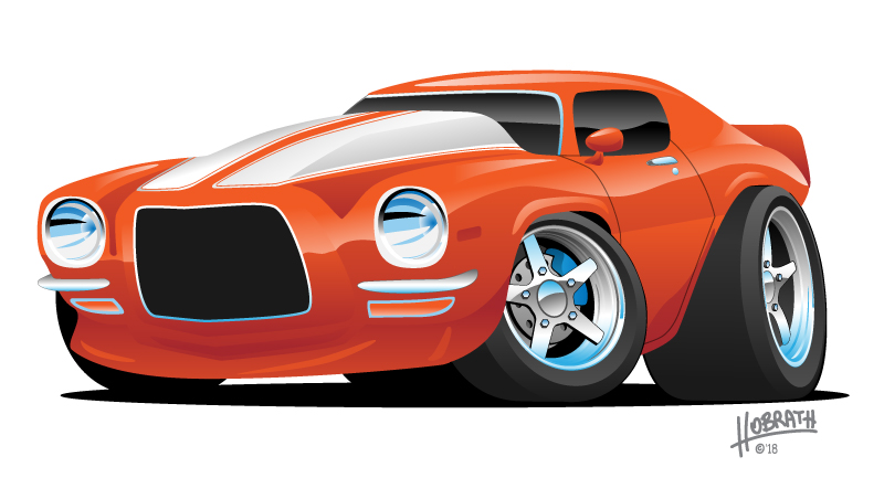 Classic Muscle Car Cartoon Illustration