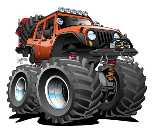 4x4 Off Road Jeep Cartoon Illustration