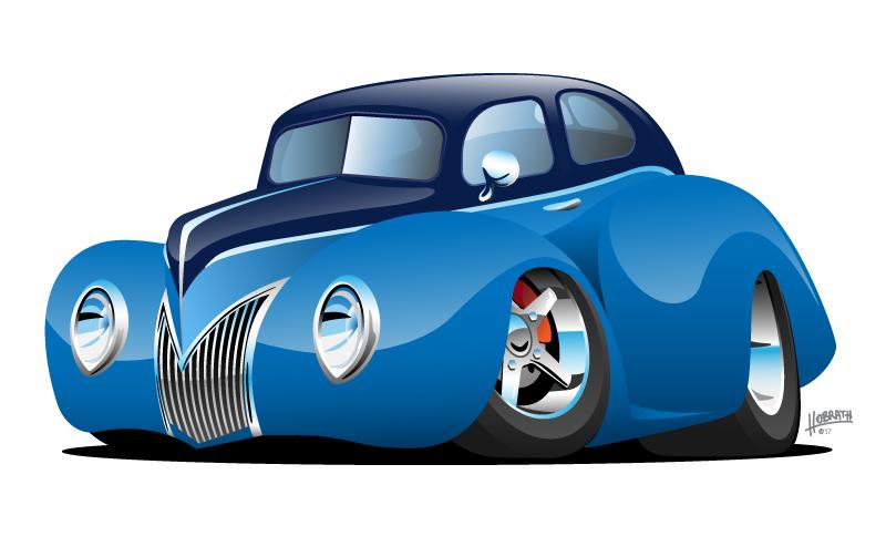 Classic Street Rod Coupe Custom Car Cartoon Vector Illustration