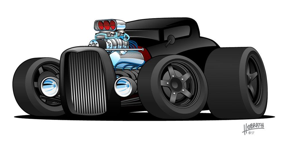 Hot Rod Vintage Coupe Custom Car Cartoon Vector Illustration