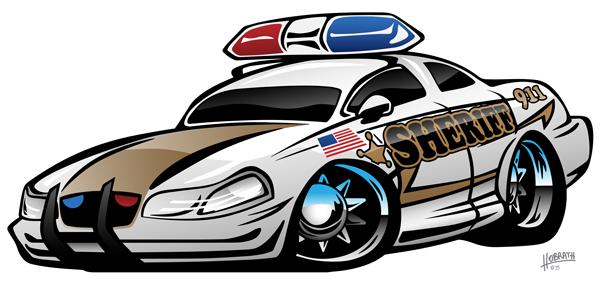 Sheriff Muscle Car Cartoon Vector Illustration
