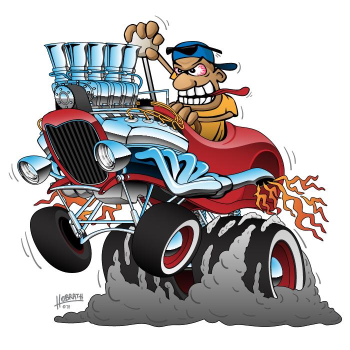 Highboy Hot Rod Race Car Cartoon Illustration