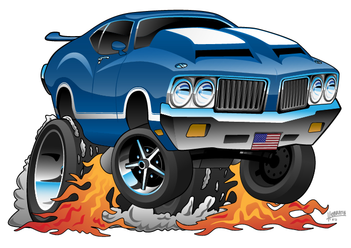 Classic Seventies 442 American Muscle Car Hot Rod Cartoon Illustration