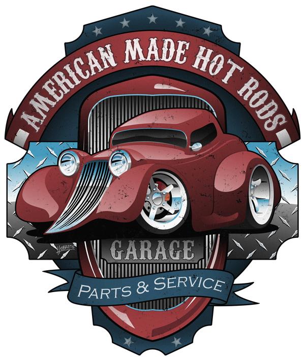 American Hot Rods Garage Vintage Car Sign Cartoon