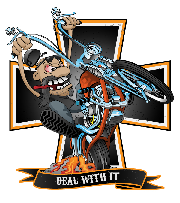 Deal with it -  funny biker riding a chopper, popping a wheelie motorcycle cartoon