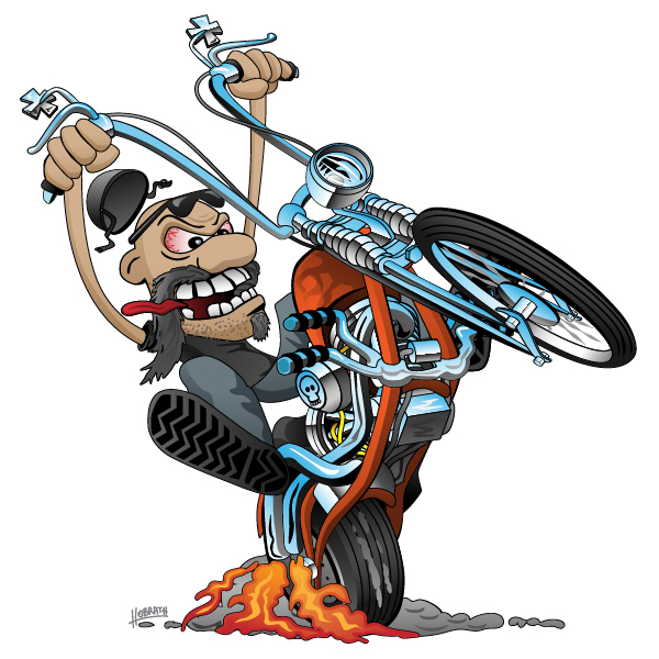 Crazy biker on an old school chopper motorcycle cartoon illustration