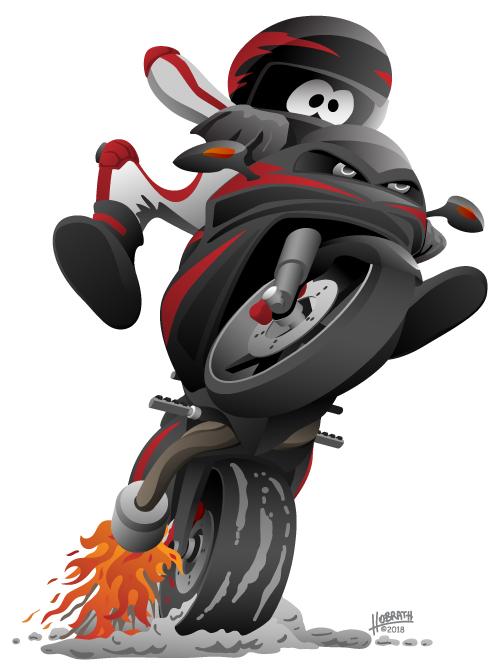 Sportbike motorcycle vector cartoon illustration