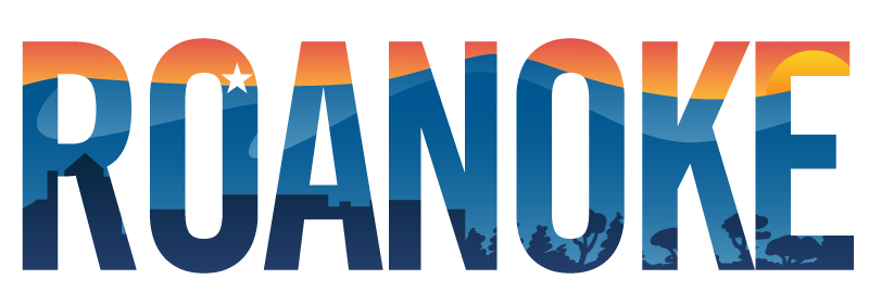 Roanoke pride vector illustration with mountains, star, city scape and sunset