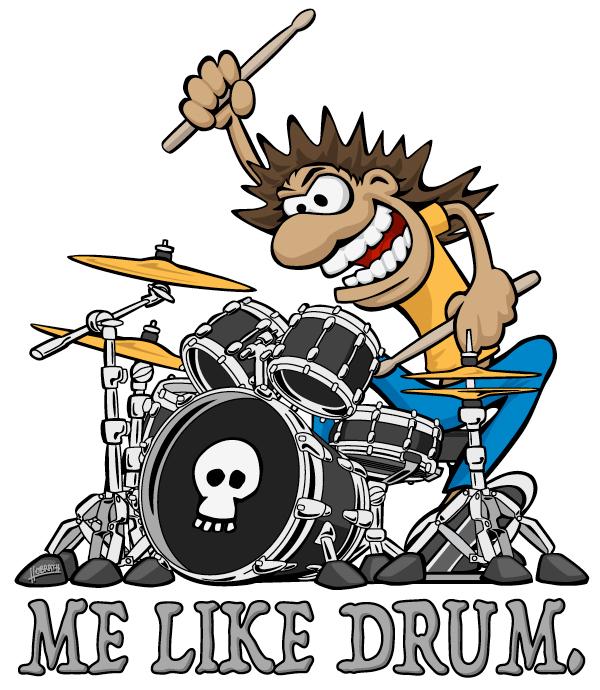 Me Like Drum. Wild Drummer Cartoon Illustration