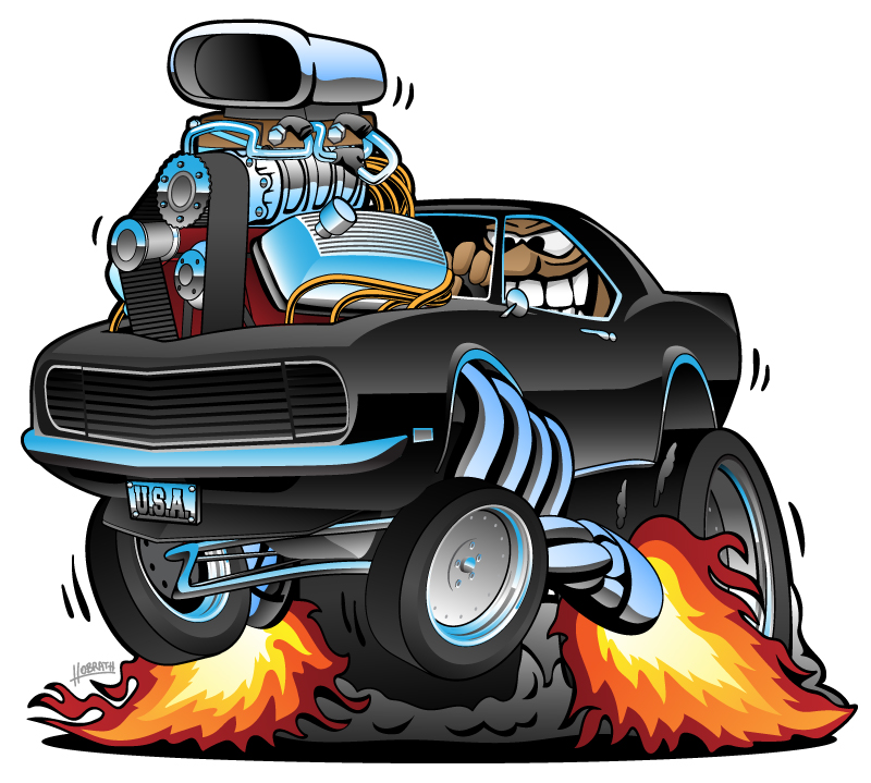 Classic Muscle Car Popping a Wheelie, Huge Chrome Engine, Crazy Driver, Cartoon Vector Illustration