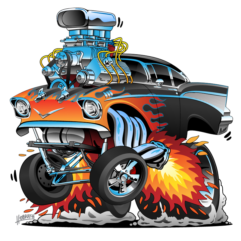 Classic hot rod 1957 Chevy Belair gasser drag racing muscle car, red hot flames, big engine, lots of chrome, cartoon vector illustration
