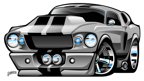 Classic 1967 Ford Mustang American Muscle Car Cartoon