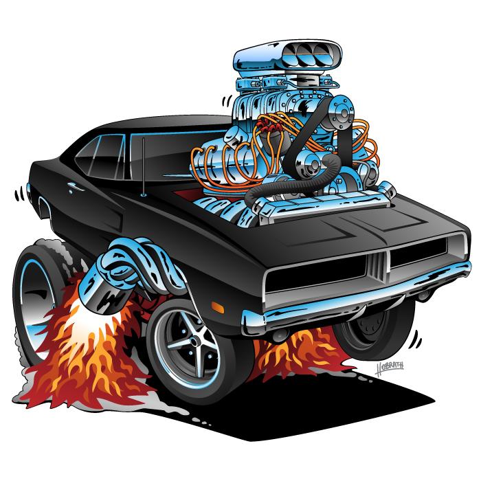 Classic 69 Charger Hemi American Muscle Car Cartoon