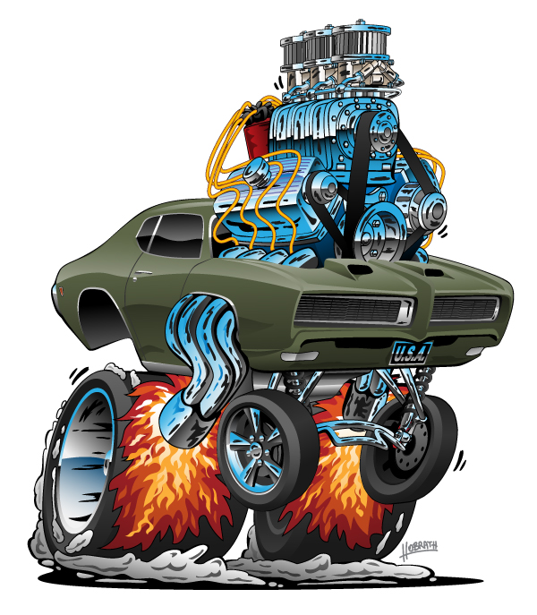 1968 GTO Classic American Muscle Car Hot Rod Cartoon Vector Illustration
