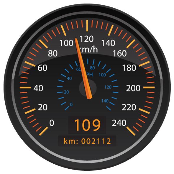 KMH Kilometers per Hour Speedometer Odometer Automotive Dashboard Gauge Vector Illustration