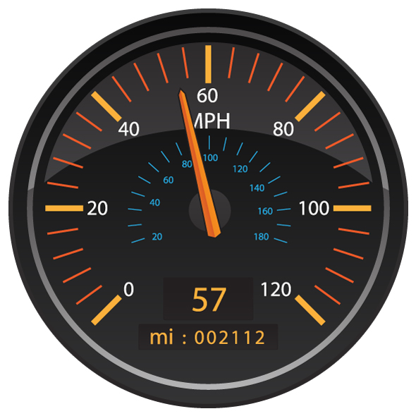 MPH Miles per Hour Speedometer Odometer Automotive Dashboard Gauge Vector Illustration